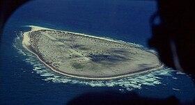 Vue aérienne de l'île Tromelin.