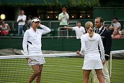 Tsvetana Pironkova and Jill Craybas at the 2009 Wimbledon Championships 01.jpg