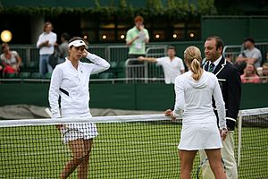 Sport in Bulgaria - Tsvetana Pironkova and Jill Craybas during the coin toss, before their 2009 Wimbledon Championships first round.
