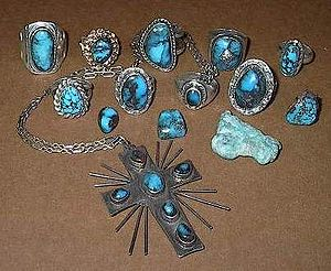 Bisbee Blue - Bisbee turquoise commonly has a hard chocolate brown colored matrix.