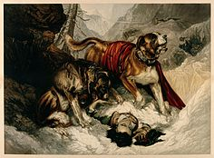 Alpine Mastiffs Reanimating a Distressed Traveler, Edwin Landseer, 1820