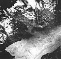 Tyeen and Johns Hopkins Glaciers, mountain glacier, striations in the rock, and iceberg filled inlet, June 21, 1978 (GLACIERS 5950).jpg