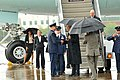 U.S. Air Force Col. Roger E. Williams Jr., center left, the commander of the 145th Airlift Wing, welcomes President Barack H. Obama, center right, as he arrives at Charlotte Air National Guard Base, N.C 130606-Z-AW931-605.jpg