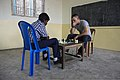 U.S. Navy Ensign Matias del Castillo, right, assigned to the guided missile destroyer USS McCampbell (DDG 85), plays chess with a student during a community service project in Chennai, India, Nov. 5, 2013 131105-N-TX154-550.jpg