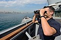 U.S. Navy Ensign Shea Miller stands watch aboard the guided missile destroyer USS Ross (DDG 71) while transiting the Bosporus en route to the Black Sea Sept 140903-N-IY142-189.jpg