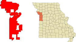 Location in Jackson, Clay, Platte, and Cass counties in the state of مسوری.