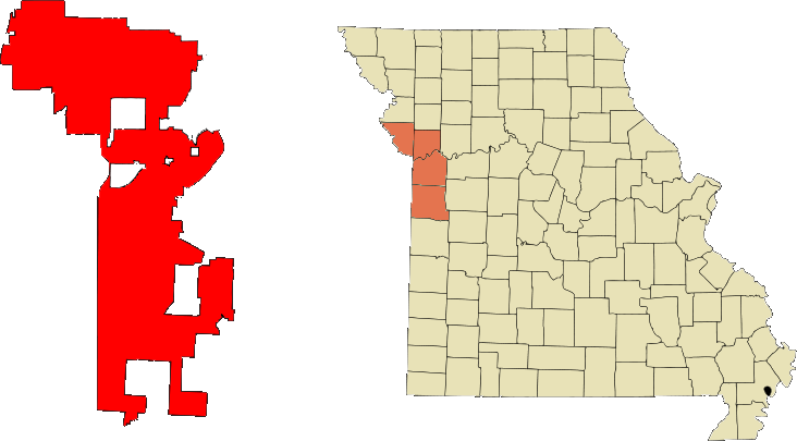 Location in Jackson, Clay, Platte, and Cass counties in the state of Missouri.