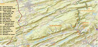 Lausanne Landing, Pennsylvania - The 1808 boundaries of Lausanne Township (Today's Lausanne Township is much smaller than its frontier days), situated as the northwestern corner region of Carbon County pretty much incorporated most of the terrain shown in this view
