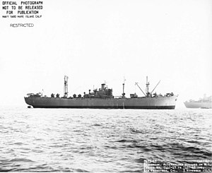 USS Azimech (AK-124) (broadside view) underway off San Francisco, 3 November 1943.
