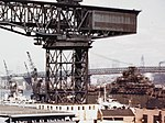 USS Franklin (CV-13) under repair at the Brooklyn Navy Yard in 1945.jpg
