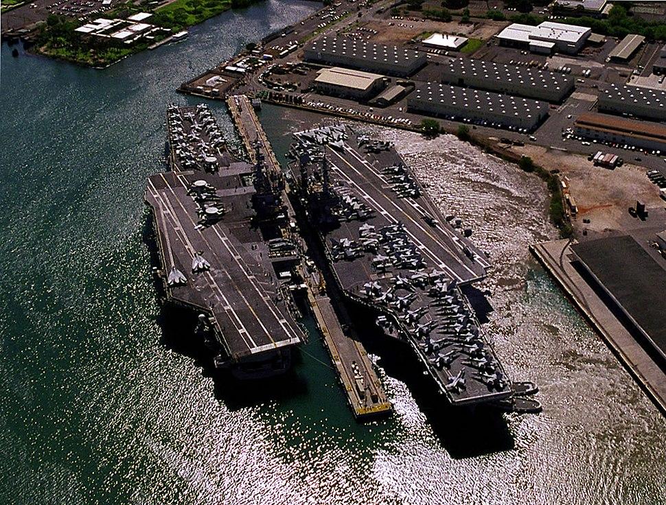 USS Independence (CV-62) and Kitty Hawk (CV-63) at Pearl Harbor 1998.JPEG