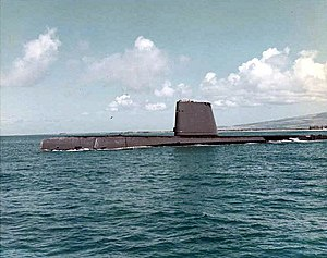 USS Razorback (SS-394), port-side view, after GUPPY IIA conversion, c. 1960s off Hawaii.