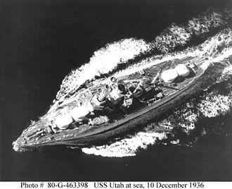 Florida-class battleship - Utah at sea serving as a target ship in 1936