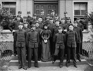 Yates Stirling Jr. - Passed Naval Cadet Yates Stirling Jr. (top row, second from left) with members of USNA Class of 1892, taken in 1894. Note the officer cap and collar insignia but without rank that designated passed naval cadets prior to commissioning as ensigns.