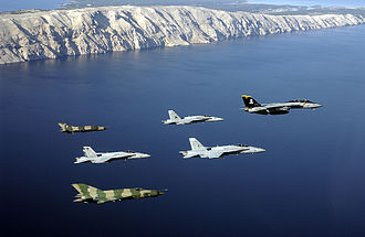 Croatian Air Force and US Navy aircraft participate in multinational training, 2002 US Navy 021029-N-1955P-020 Navy aircraft participate in Joint Wings 2002.jpg