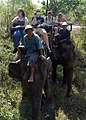 US Navy 050301-N-8955H-027 Sailors assigned to the command ship USS Blue Ridge (LCC 19) enjoy the scenic ride on elephants at the Kalim Elephant Trekking tour.jpg