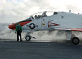 US Navy 060125-N-7359L-005 A T-45C Goshawk moves into position to launch from the flight deck aboard the Nimitz-class aircraft carrier USS Dwight D. Eisenhower (CVN 69).jpg
