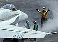 "US Navy 070506-N-6854D-004 An F-A-18C Hornet, from the ""Wildcats"" of Strike Fighter Squadron (VFA) 131, prepares to launch from the flight deck of Nimitz-class aircraft carrier USS Dwight D. Eisenhower (CVN 69).jpg"