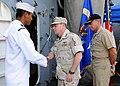 US Navy 090126-N-1082Z-010 Vice Adm. Bill Gortney greets Seaman Christopher A. Contreras aboard USS Vella Gulf (CG 72).jpg