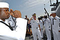 US Navy 090724-N-8273J-201 Chief of Naval Operations (CNO) Adm. Gary Roughead is piped aboard the guided-missile destroyer USS Barry (DDG 52).jpg