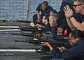 US Navy 101205-N-5838W-001 Sailors assigned to the guided-missile destroyer USS Mason (DDG 87) fire M-16 rifles during a small arms qualification o.jpg