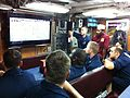 US Navy 110206-N-0000M-001 Sailors aboard the Los Angeles-class attack submarine USS Santa Fe (SSN 763) watch Super Bowl XLV.jpg