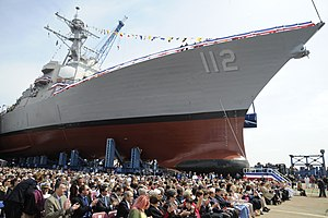 US Navy 110507-N-KK330-134 Guests await the christening ceremony for the Arleigh Burke-class guided-missile destroyer Pre-commissioning Unit (PCU).jpg