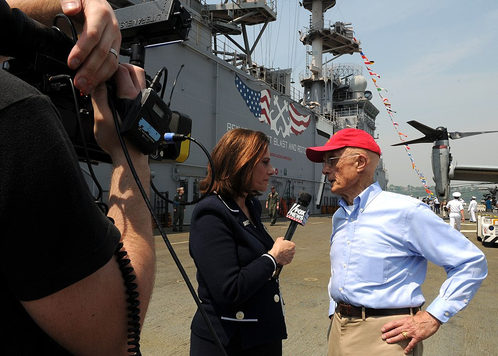 US Navy 110527-N-5698C-280 Fox News reporter Kathleen T. McFarland interviews Battle of Iwo Jima veteran Lou Dipaolo on the flight deck of the mult