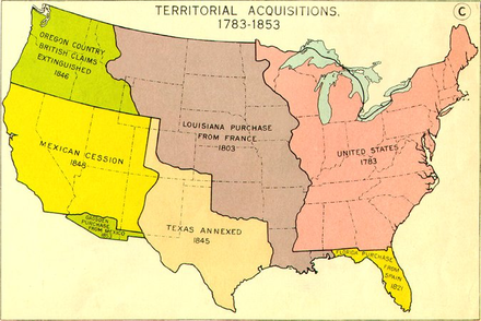 A government map, probably created in the mid-20th century, that depicts a simplified history of territorial acquisitions within the continental United States United-states-territorial-acquistions-midcentury.png