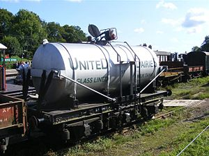 British Railway Milk Tank Wagon - Preserved United Dairies three-axle Milk Tank Wagon at the Bluebell Railway, based on an SR chassis