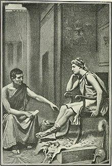 Gravure représentant un homme en toge à droite professant à un homme en tunique