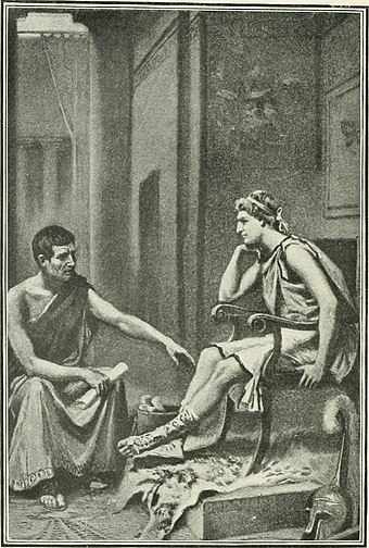 Aristotle Tutoring Alexander, by Jean Leon Gerome Ferris Universal manual of ready reference - antiquities, history, geography, biography, government, law, politics, industry, invention, science, religion, literature, art, education and miscellany (1904) (14590266027).jpg