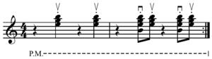 Ska stroke - Image: Upstroke skank on Em 64