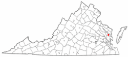 Location of Urbanna, Virginia