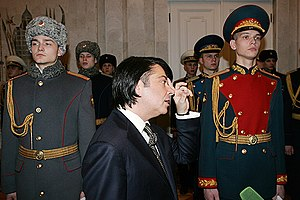 Valentin Yudashkin - Yudashkin at an inspection of new uniforms for the military of Russia, which he helped to design.