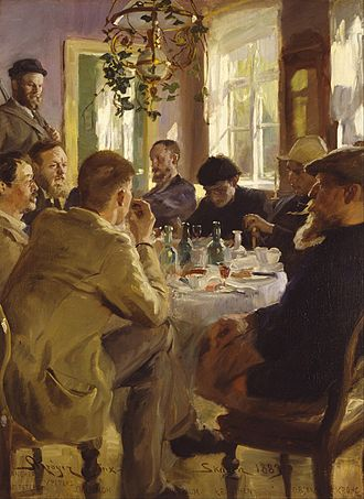 Skagen Painters - P.S. Krøyer: Artists at Lunch (1883)