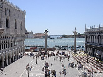 Lion of Venice - The Piazzetta di San Marco with the two columns in their centuries-old setting.