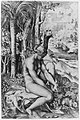 Venus removing a thorn from her left foot while seated on a cloth next to trees, a hare lower right MET 271157.jpg