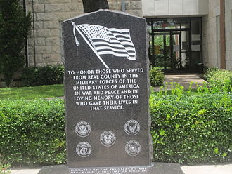 Real County, Texas - Veterans Memorial at Real County courthouse