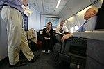Vice President Cheney with David Addington, Lea Anne McBride and John Hannah Aboard Air Force Two (18611766821).jpg