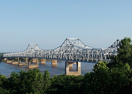The Vicksburg Bridge carries I-20 and U.S. 80 across the Mississippi River at Vicksburg. Vicksburg bridge over the mississippi morning-edit.jpg