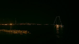 Night - View across a dock in the Gulf of Naples at night