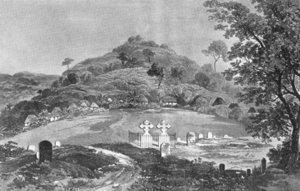 John Bowen (bishop) - View of the New Burial Ground, Freetown by Julia Sass which appeared in The Memorials of John Bowen (1862). The two crosses mark the grave stones of John Bowen and his wife