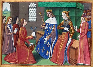 March to Reims - Miniature from Vigiles du roi Charles VII. The citizens of Troyes hand over city keys to the Dauphin and Joan of Arc.