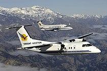 Vincent Aviation De Havilland Dash 8-100 (ZK-VAC) and Beechcraft 1900D (ZK-VAB) over New Zealand's South Island.jpg