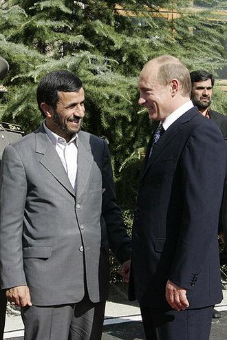 Presidency of Mahmoud Ahmadinejad - Ahmadinejad with then president of Russia Vladimir Putin in Tehran on 16 October 2007.