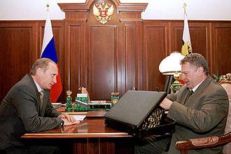 Vladimir Zhirinovsky - Zhirinovsky and Vladimir Putin at the Kremlin in 2000