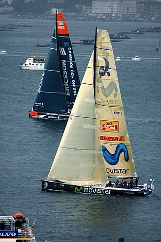 Movistar - VO70 Class yacht Movistar racing in Leg 1 of the 2005 Volvo Ocean Race, in Vigo, Spain.