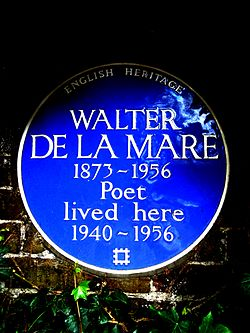 Walter de la mare 1873 1956 poet lived here 1940 1956