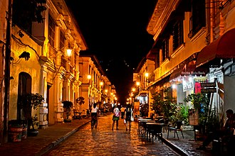 Archaeology of the Philippines - Calle Crisologo in Vigan at night.